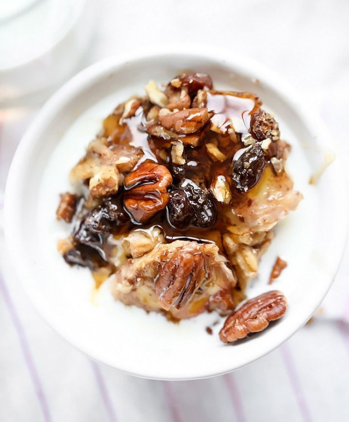 Slow cooker oatmeal with bananas and nuts by Heidi from Foodie Crush.