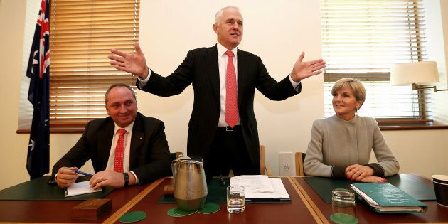 Malcolm Turnbull, with deputy Prime Minister Barnaby Joyce and deputy Liberal leader Julie Bishop during the party room meeting at Parliament House