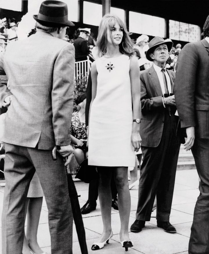 English model, Jean Shrimpton attends Derby Day at Flemington Racecourse in Melbourne, October 30 1965 wearing a mini skirt, the garment which would go on to define the decade.