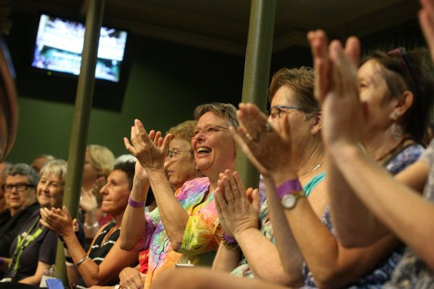 Witnesses celebrate the official apology by the NSW Parliament to those arrested in 1978 gay