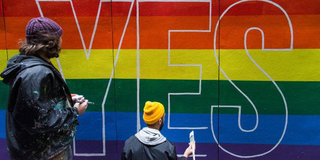 Apparition Media artist David Lee Pereira's gay marriage postal vote art in Knox Lane, Melbourne.