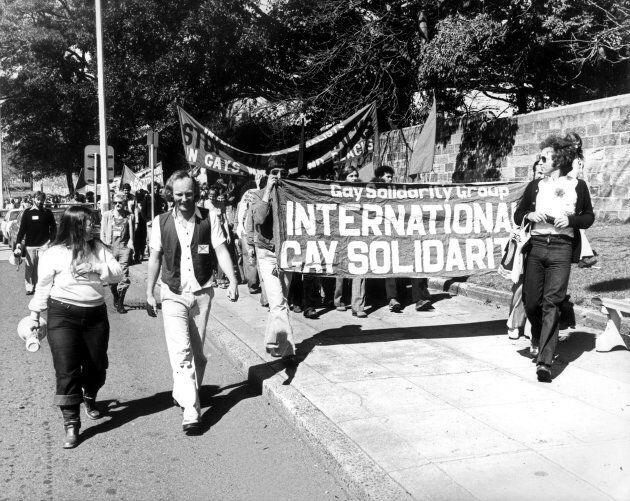 Gay solidarity supporters protest on Oxford Street Paddington eventually arrested in Taylor Square. August 27, 1978.