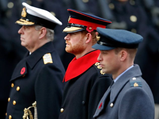 Prince Andrew, Duke of York, Prince Harry and Prince William, Duke of Cambridge attend the annual Remembrance Sunday Service at The Cenotaph on Nov. 12, 2017 in London, England.