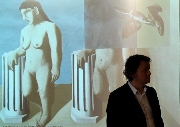 'The Enchanted Pose' during a press conference unveiling the missing piece of the art work which was...