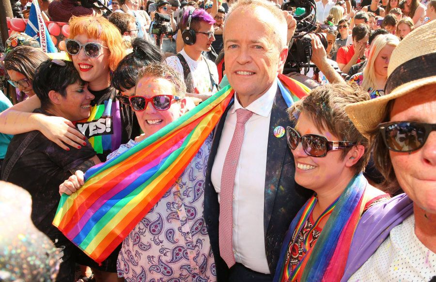 Melbourne, Australia -- November 15: Leader of the Opposition Bill Shorten is embraced by members of...
