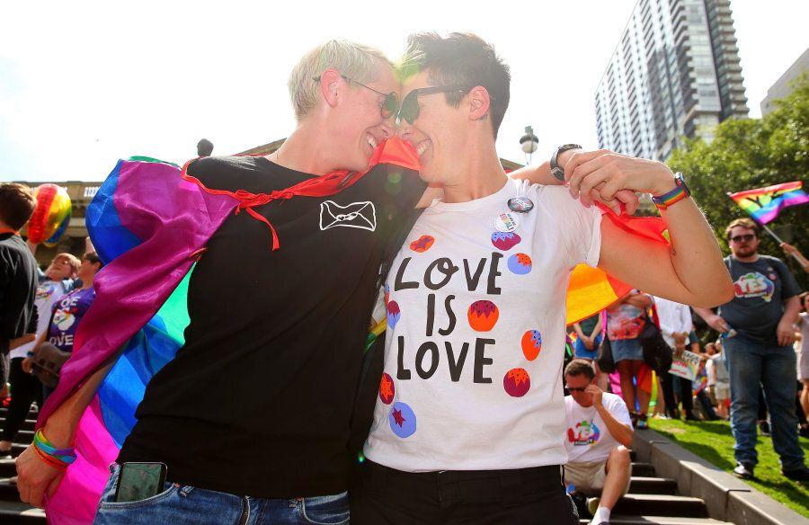 Melbourne, Australia -- November 15: Rebecca Davies and her partner Paula Van Bruggen share a celebratory...
