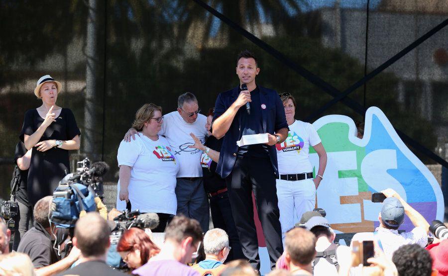 Sydney, Australia -- November 15: Olympian and marriage equality advocate Ian Thorpe addresses the buzzing...