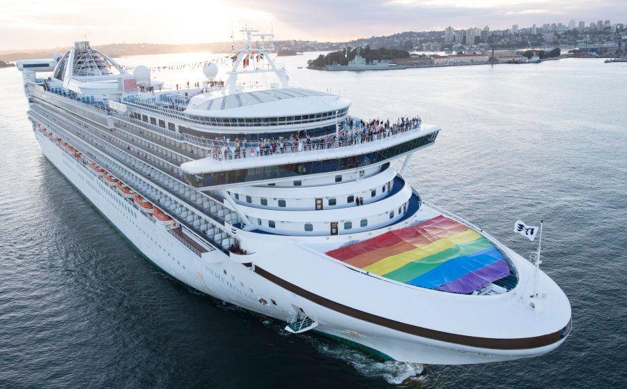 Sydney, Australia -- November 15: The Golden Princess docked in Sydney Harbour proudly flying the rainbow...