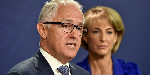Australia's Prime Minister Malcolm Turnbull speaks at a press conference with the minister for Employment Michaelia Cash.