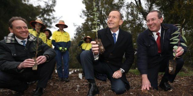 Then Prime Minister Tony Abbott visited a Green Army project in Queanbeyan in August, 2015