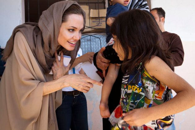 UNHCR Special Envoy Angelina Jolie meets Syrian refugees in the Bekaa Valley, Lebanon.