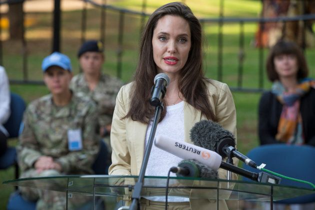 UNHCR Special Envoy Angelina Jolie delivers a statement in front of the sexual and gender-based violence...