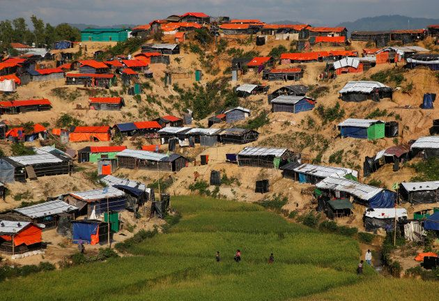 Temporary shelters where Rohingya refugees live are seen from a hilltop at Palong Khali refugee camp,...