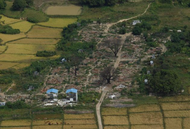 Aerial view of a burned Rohingya village near Maungdaw, northern Rakhine state, Myanmar, November 12,