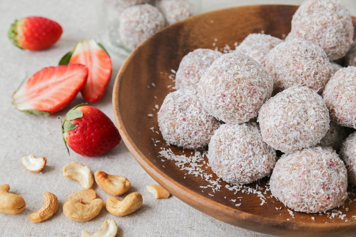 Try strawberry, oat, date, cashew and coconut bliss balls.