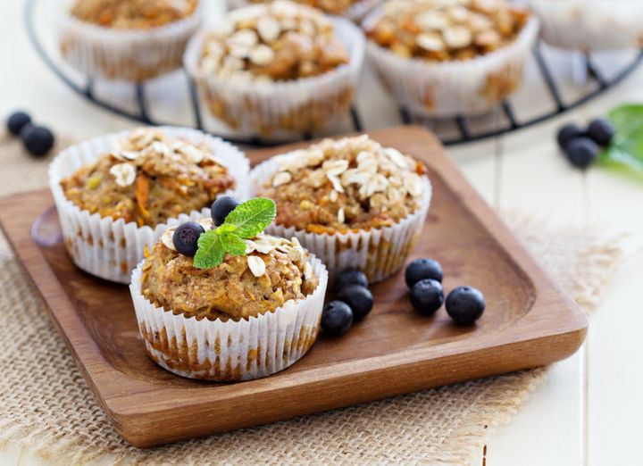 Try banana-sweetened carrot muffins made with wholemeal flour and oats.