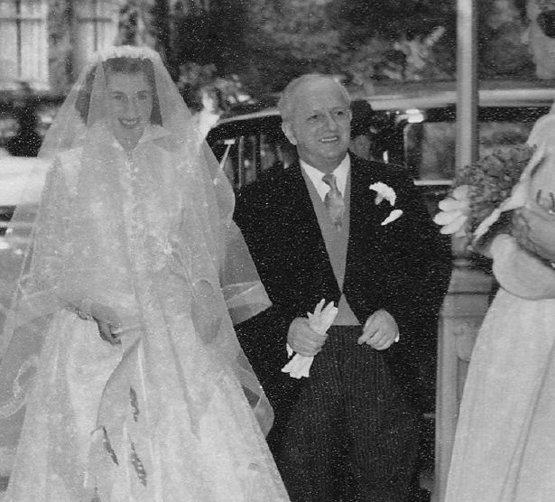Barbara Mackay Cruise on her wedding day with her father Noel Lamidey.