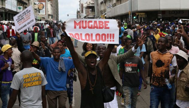 Protesters calling for Zimbabwean President Robert Mugabe to step down take to the streets in Harare.