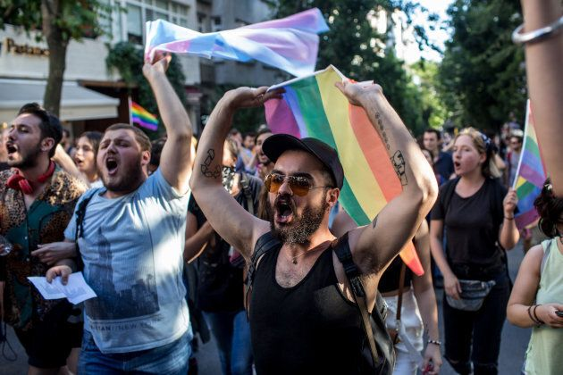 LGBT supporters march towards Taksim Square on June 25, 2017 in Istanbul, Turkey. The 2017 LGBT Pride March was banned by authorities for the third year. Organisers defied the order and people attempted to march to Taksim Square but were met by a heavy police presence.
