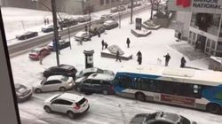 Montreal Pile-Up On Snowy Hill Is Incredibly Painful To