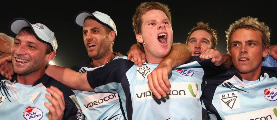 A very boyish Steve Smith with the late Phillip Hughes (left) playing for NSW in India in 2009 in the...