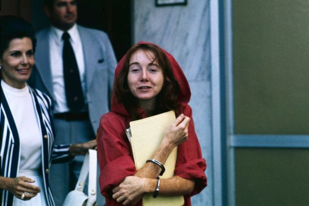 Lynette 'Squeaky' Fromme leaving the courthouse after her first hearing on the charge of attempting assassination...