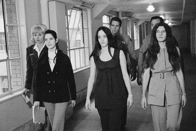 The three female defendants in the Tate-LaBianca murders, (left to right) Leslie Van Houten, Susan Atkins,...