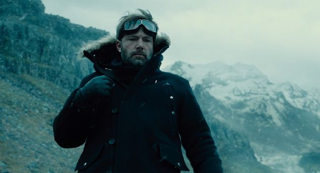 Ben Affleck as Batman whose superpowers include vast wealth and looking melancholy in various