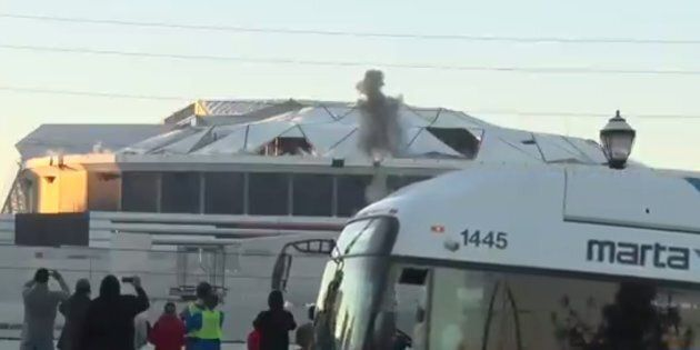 Bus Blocks Live Television Shot Of Georgia Dome