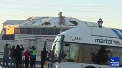 Bus Blocks Live Television Shot Of Georgia Dome
