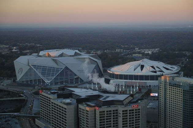 Georgia Dome beside the new Mercedes Benz