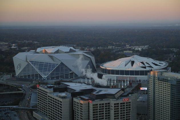 Georgia Dome beside the new Mercedes Benz Stadium.
