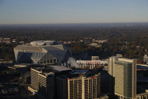 The Mercedes Benz Stadium stands alone, following the demolition of the Georgia