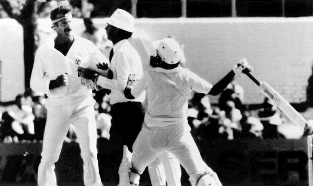 The world's most famous onfield cricket stoush -- between Australian fast bowler Dennis Lillee, left...