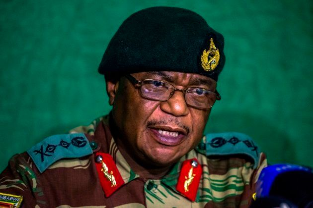 Zimbabwe's Commander Defence Forces General Constatntino Guveya Chiwenga speaks during a press conference...