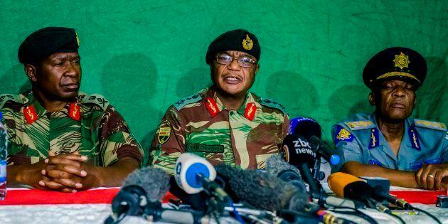 November 20, 2017: Zimbabwe National Army commander Constantino Chiwenga speaks during a press conference at the Tongogara Barracks in Harare, Zimbabwe.