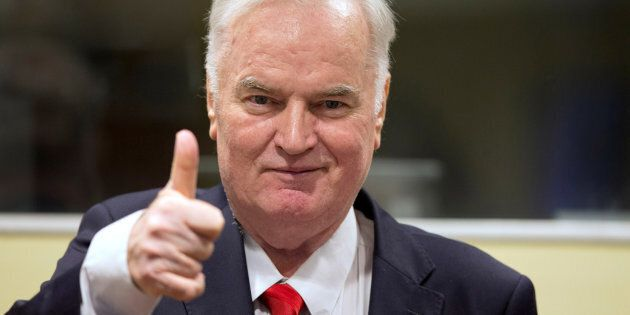 Ex-Bosnian Serb wartime general Ratko Mladic appears in court at the International Criminal Tribunal...