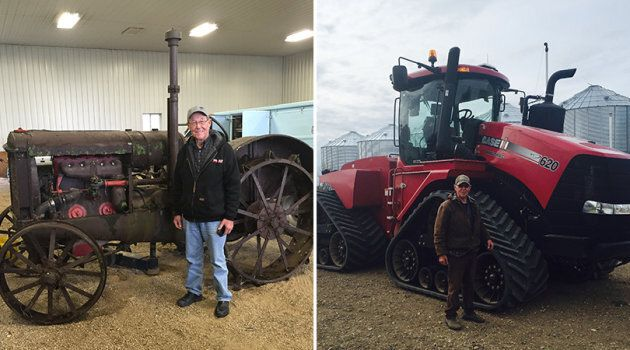 Jason LeBlanc's father, Ross, is pictured with his very first tractor (left) and his current one.