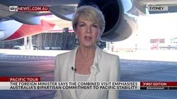 Watch Julie Bishop Almost Get Run Over By Massive Qantas