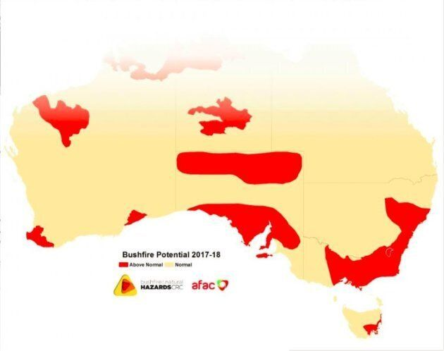 Many of Australia's most highly populated areas are at increased risk of severe bushfires this summer.