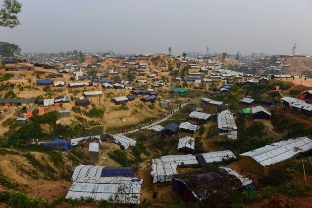 General view of Balukhali refugee camp in the Bangladeshi district of Ukhia on November 22, 2017. An...