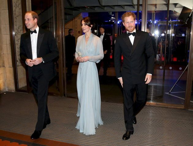 "Prince William, Duke of Cambridge, Catherine, Duchess of Cambridge, and  Prince Harry (R) attend The Cinema and Television Benevolent Fund's Royal Film Performance 2015 of the new James Bond 007 film ""Spectre"" at Royal Albert Hall on October 26, 2015 in London, England."