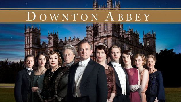 "The cast of ""Downton Abbey"" with Lady Edith second from far right."