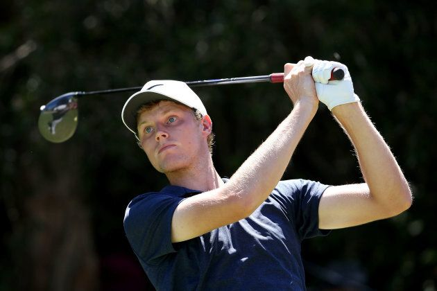 Cameron Davis hits a tee shot on the 14th hole during day four of the 2017 Australian Golf Open.