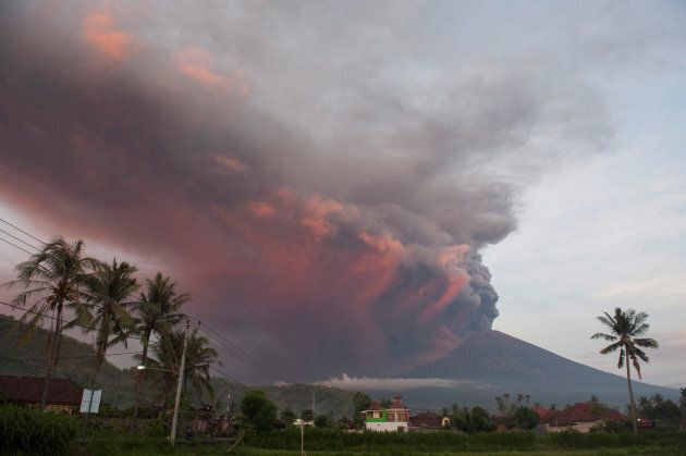 Mount Agung volcano erupts as seen from Culik Village, Karangasem, on November 26,