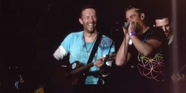 Shane Warne and Chris Martin jammed at last night's Coldplay