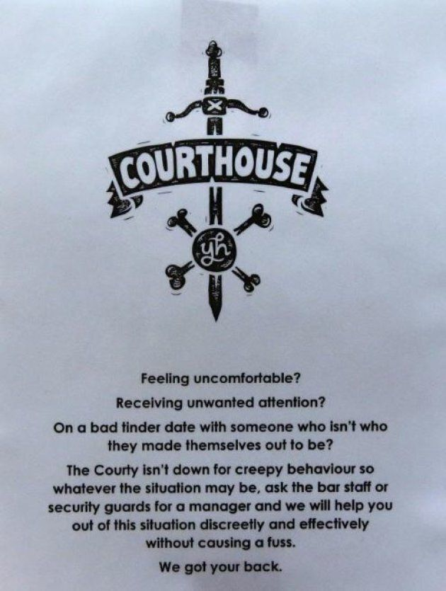 A sign at the Courthouse hotel in Newtown,