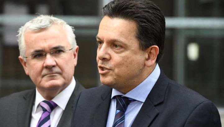 Anti-gambling crusaders Andrew Wilkie and Nick Xenophon.