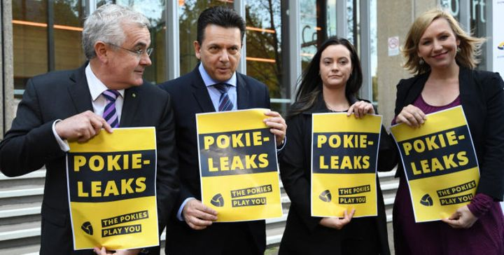 """Wilkie, Xenophon, former pokie machine victim, Shonica Guy and Greens Senator Larissa Waters set up """"Pokie Leaks"""" to get the gambling industry's dirty secrets"""