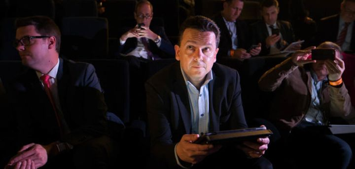 Nick Xenophon counting the NXT votes in the 2016 federal election.